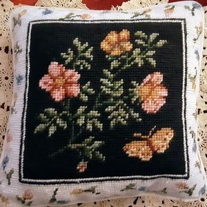 Cross Stitch Pillow Needlepoint Floral Butterfly